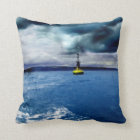 Striking Buoy Amongst Crashing Waves with Clouds Throw Pillow