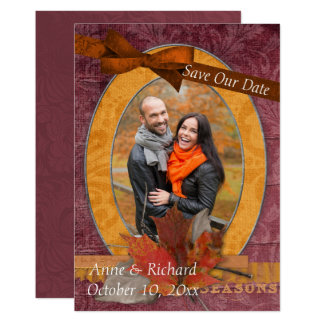 Striking Fall Wedding Photo Save the Date Card
