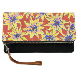 Striking Floral Pop Art Watercolour Clutch Bag