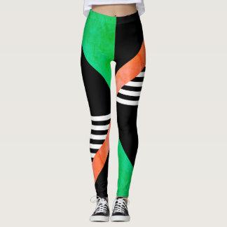 striking geometric stripes bold print leggings