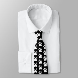 Striking Hand Art Paw Prints Black White Silky Tie