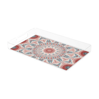 Striking Modern Kaleidoscope Mandala Fractal Art Acrylic Tray