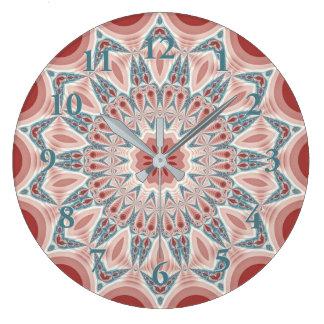 Striking Modern Kaleidoscope Mandala Fractal Art Large Clock