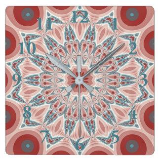 Striking Modern Kaleidoscope Mandala Fractal Art Square Wall Clock