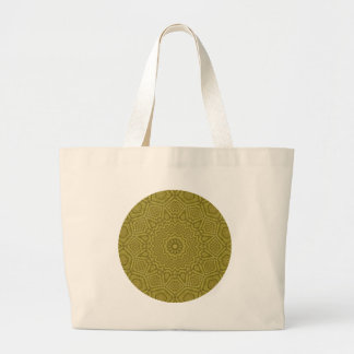Striking Olive and Gold Mandala Kaleidoscope Large Tote Bag