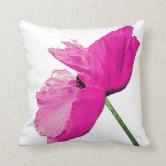 Striking pink poppy pillow