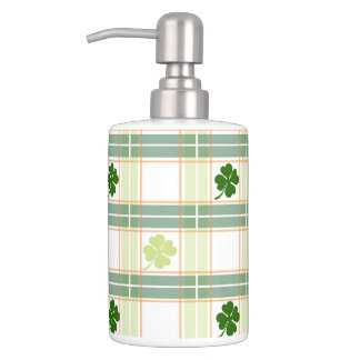 Striking Plaid Four Leaf Clover Soap Dispenser And Toothbrush Holder