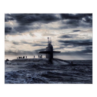 Striking Submarine in the Ocean Poster