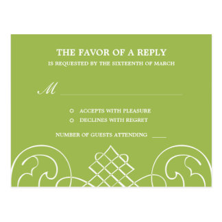 Striking Swirls Wedding RSVP Postcard