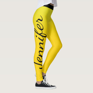 Striking Yellow and Black Custom Name Leggings