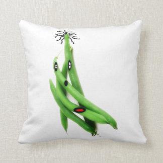 String Bean Cartoon Throw Pillow