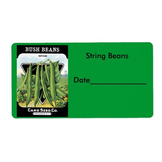 String Beans Canning/Freezing Labels