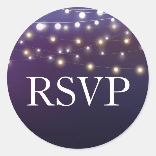 String Light Evening Wedding RSVP Classic Round Sticker