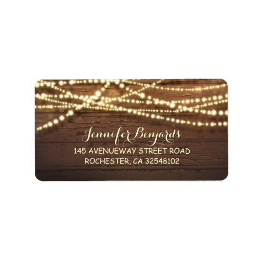 String Lights and Barn Wood Rustic Label
