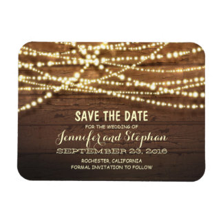 String Lights and Barn Wood Save The Date Magnet