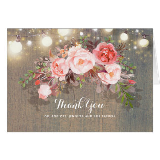 String Lights and Pink Flowers Rustic Thank You Card
