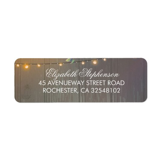 String Lights and Rustic Wood Barn Wedding Return Address Label