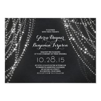 String lights Backdrop Romantic Wedding Invitation