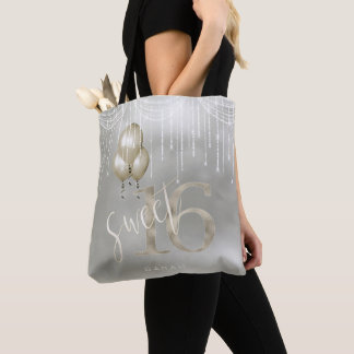 String Lights & Balloons Sweet 16 Champagne ID473 Tote Bag