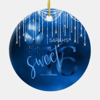String Lights & Balloons Sweet 16 Dk Blue ID473 Ceramic Ornament