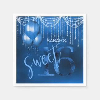 String Lights & Balloons Sweet 16 Dk Blue ID473 Paper Napkins