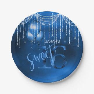 String Lights & Balloons Sweet 16 Dk Blue ID473 Paper Plate