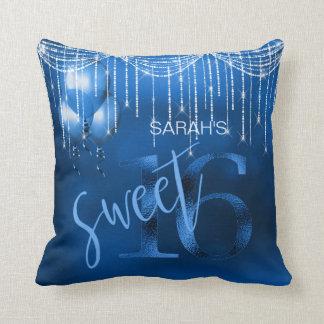 String Lights & Balloons Sweet 16 Dk Blue ID473 Throw Pillow