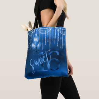 String Lights & Balloons Sweet 16 Dk Blue ID473 Tote Bag