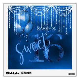 String Lights & Balloons Sweet 16 Dk Blue ID473 Wall Sticker