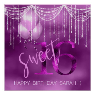 String Lights & Balloons Sweet 16 Orchid ID473 Poster