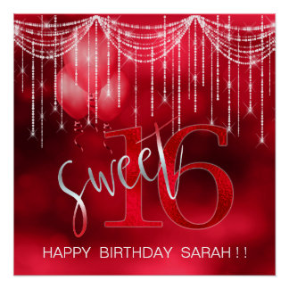 String Lights & Balloons Sweet 16 Red ID473 Poster
