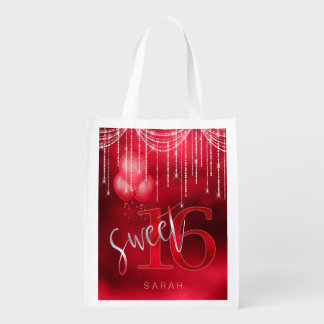 String Lights & Balloons Sweet 16 Red ID473 Reusable Grocery Bag