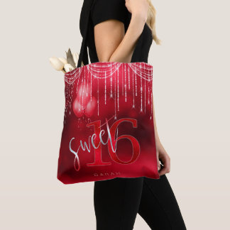 String Lights & Balloons Sweet 16 Red ID473 Tote Bag