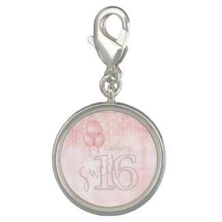 String Lights & Balloons Sweet 16 Rose Gold ID473 Photo Charms