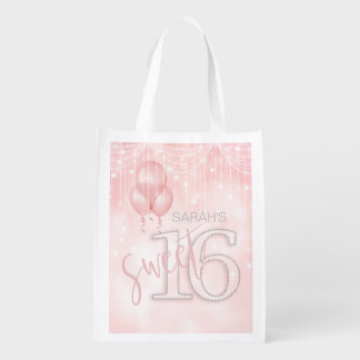 String Lights & Balloons Sweet 16 Rose Gold ID473 Reusable Grocery Bag
