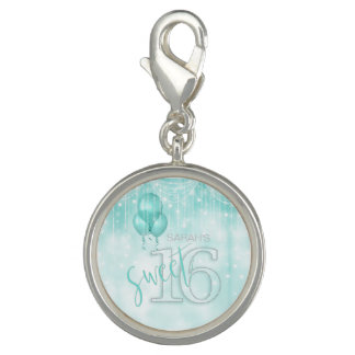 String Lights & Balloons Sweet 16 Teal ID473 Charm