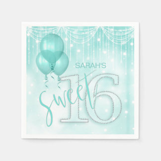 String Lights & Balloons Sweet 16 Teal ID473 Paper Napkins