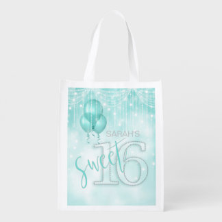 String Lights & Balloons Sweet 16 Teal ID473 Reusable Grocery Bag