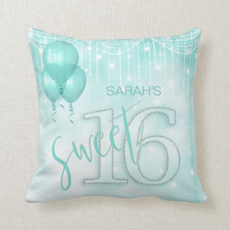 String Lights & Balloons Sweet 16 Teal ID473 Throw Pillow