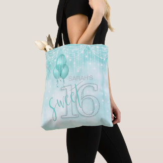 String Lights & Balloons Sweet 16 Teal ID473 Tote Bag