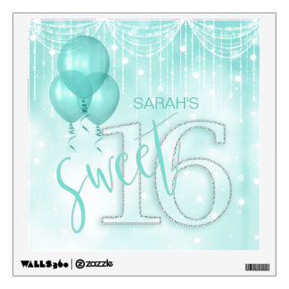 String Lights & Balloons Sweet 16 Teal ID473 Wall Sticker