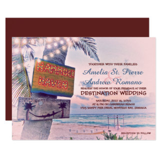 String Lights Beach Destination Wedding Invitation
