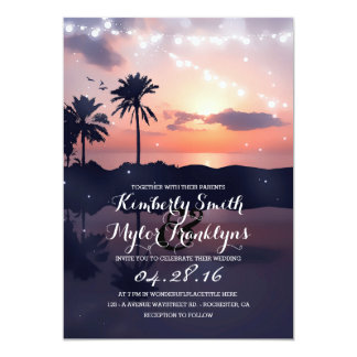 String Lights Beach Palms Sunset Wedding Card