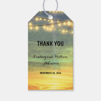 String Lights Beach Palms Wedding Gift Tags