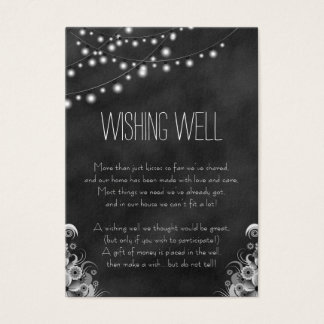 String Lights Black Chalkboard Wishing Well Cards