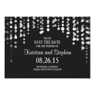 "string lights black SAVE THE DATE cards 4.5"" X 6.25"" Invitation Card"