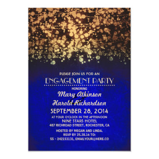 string lights blue and gold engagement party card