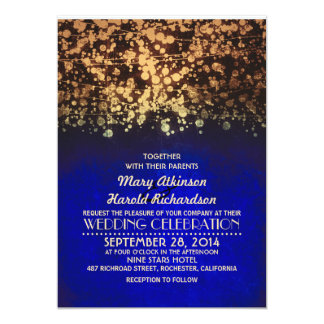 """string lights blue and gold rustic wedding 5"""" x 7"""" invitation card"""