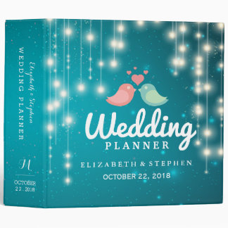 String Lights Blue Glitter Sparkle Wedding Planner Binder