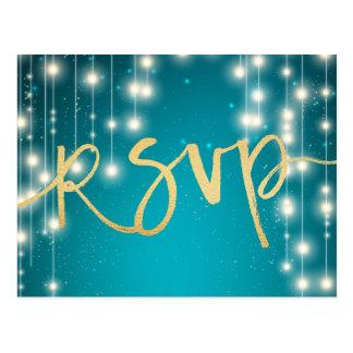 String Lights Blue Gold Script Wedding RSVP Reply Postcard